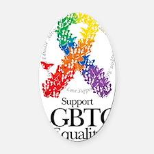 LGBTQ-Butterfly-Ribbon Oval Car Magnet