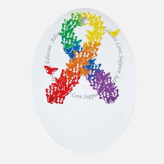 LGBT-Butterfly-Ribbon-blk Oval Ornament