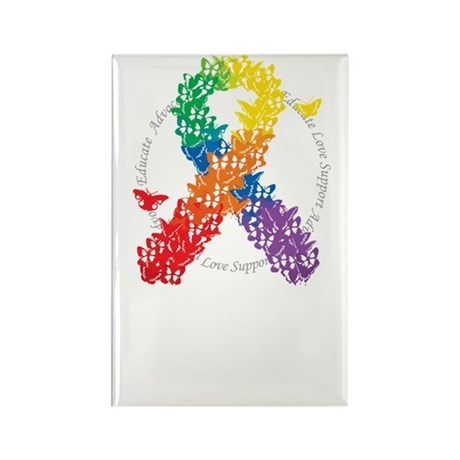 LGBT-Butterfly-Ribbon-blk Rectangle Magnet