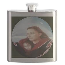 button,beautiful art print,mother,child,natu Flask