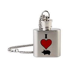 I heart pig Flask Necklace