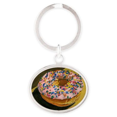 Doughnut with Sprinkles Oval Keychain