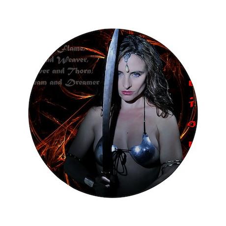 "Warrioress 3.5"" Button"
