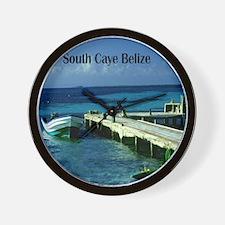 boat dock South Caye Belize200 writing1 Wall Clock