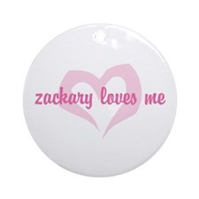 """zackary loves me"" Ornament (Round)"