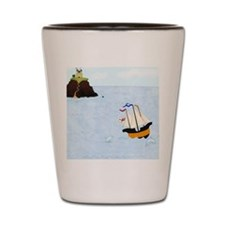 Sailing by the Castle Square Shot Glass