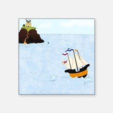 "Sailing by the Castle Squar Square Sticker 3"" x 3"""