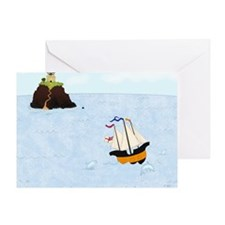 Sailing by the Castle Square Greeting Card