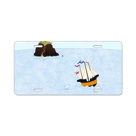 Sailing by the Castle 5 x 7 Aluminum License Plate