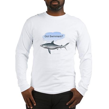 """Shark """"Got Swimmers?"""" Long Sleeve T-Shirt"""
