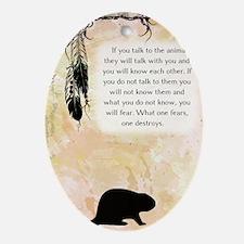 nativeamerican_journal_beaver Oval Ornament