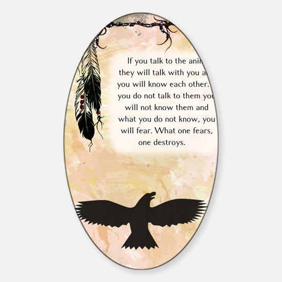 nativeamerican_journal_eagle Sticker (Oval)