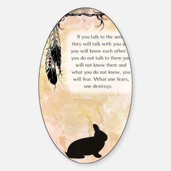 nativeamerican_journal_rabbit Sticker (Oval)