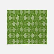 Madison Green Argyle Pattern Throw Blanket