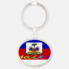 Haiti earthquake relief helper 2 Oval Keychain