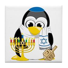 Hanukkah-Penguin-Scarf Tile Coaster