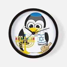 Hanukkah-Penguin-Scarf Wall Clock