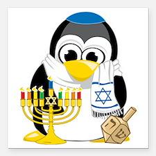"Hanukkah-Penguin-Scarf Square Car Magnet 3"" x 3"""