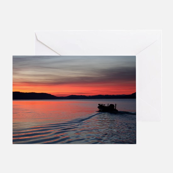 bass boat at sunrise Greeting Card
