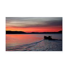 bass boat at sunrise Rectangle Car Magnet