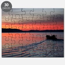 bass boat at sunrise Puzzle