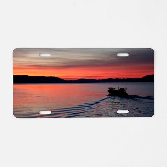 bass boat at sunrise Aluminum License Plate