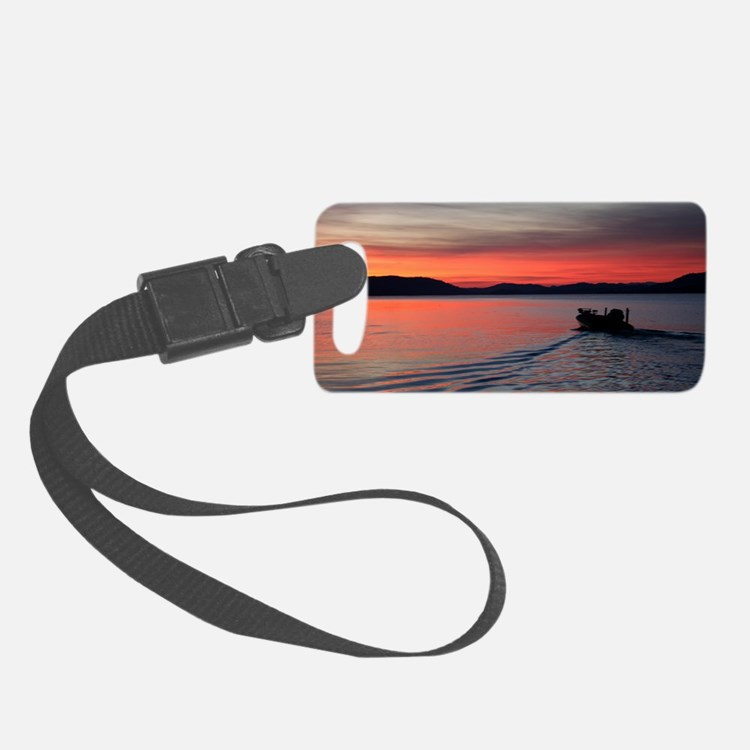 bass boat at sunrise Luggage Tag