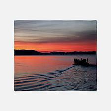 bass boat at sunrise Throw Blanket