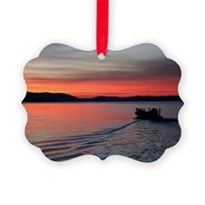 bass boat at sunrise Ornament