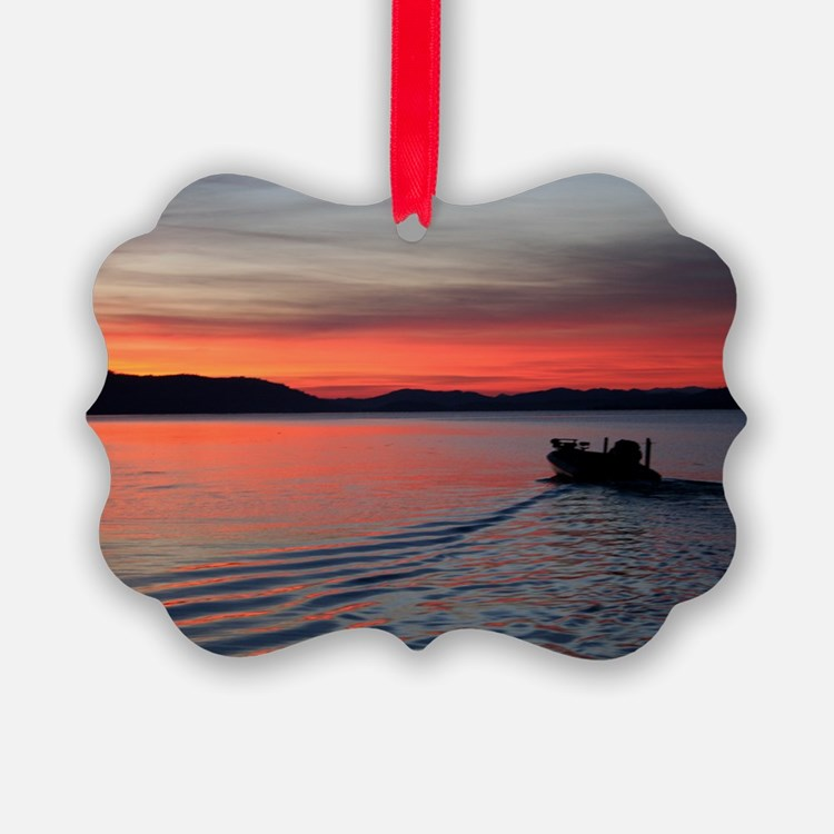 bass boat at sunrise Ornament