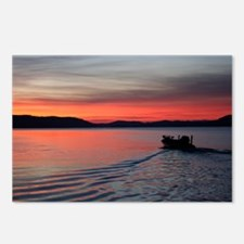 bass boat at sunrise Postcards (Package of 8)