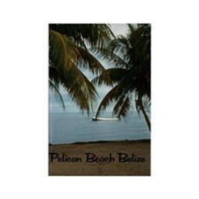 2-Pelican Beach Belize200 writing Rectangle Magnet