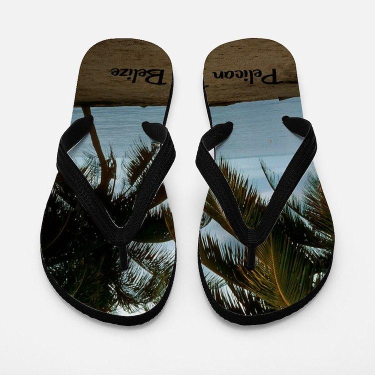 2-Pelican Beach Belize200 writing16x20 Flip Flops