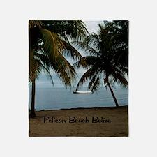 2-Pelican Beach Belize200 writing16x Throw Blanket