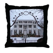 Linden Place in winter Throw Pillow