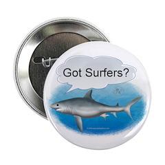 """Shark- got surfers? 2.25"""" Button (10 pack)"""