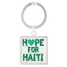 HOPE FOR HAITI green Square Keychain