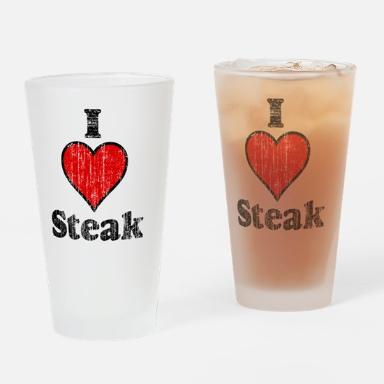 I heart steak vintage Drinking Glass