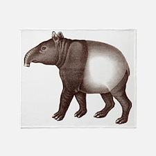 Tapir Antique Engraving Throw Blanket