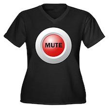 Mute Button Women's Plus Size Dark V-Neck T-Shirt