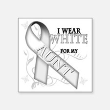 "I Wear White for my Aunt Square Sticker 3"" x 3"""