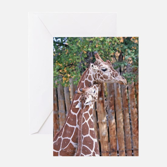 giraffe-cuddle Greeting Card