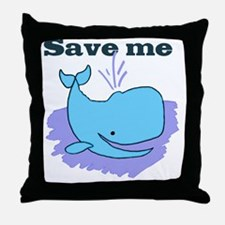 happy whale save me Throw Pillow