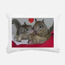 Valentine Squirrels Rectangular Canvas Pillow