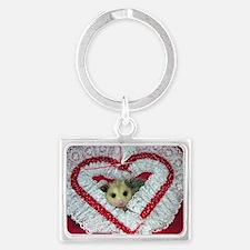 Opossum Valentine Card Landscape Keychain