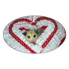 Opossum Valentine Card Decal
