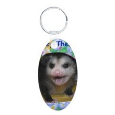 Possum Birthday Card - Hey  Aluminum Oval Keychain