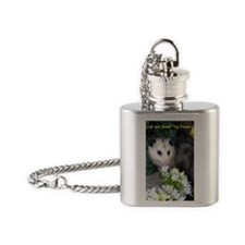 Possum Birthday Card - Flowers Flask Necklace