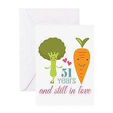 51 Year Anniversary Veggie Couple Greeting Card