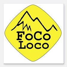 "focoloco yellow Square Car Magnet 3"" x 3"""